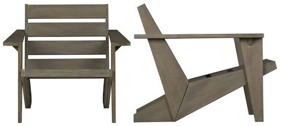 CB2 Sawyer Adirondack chair Love the lines  Spaces and