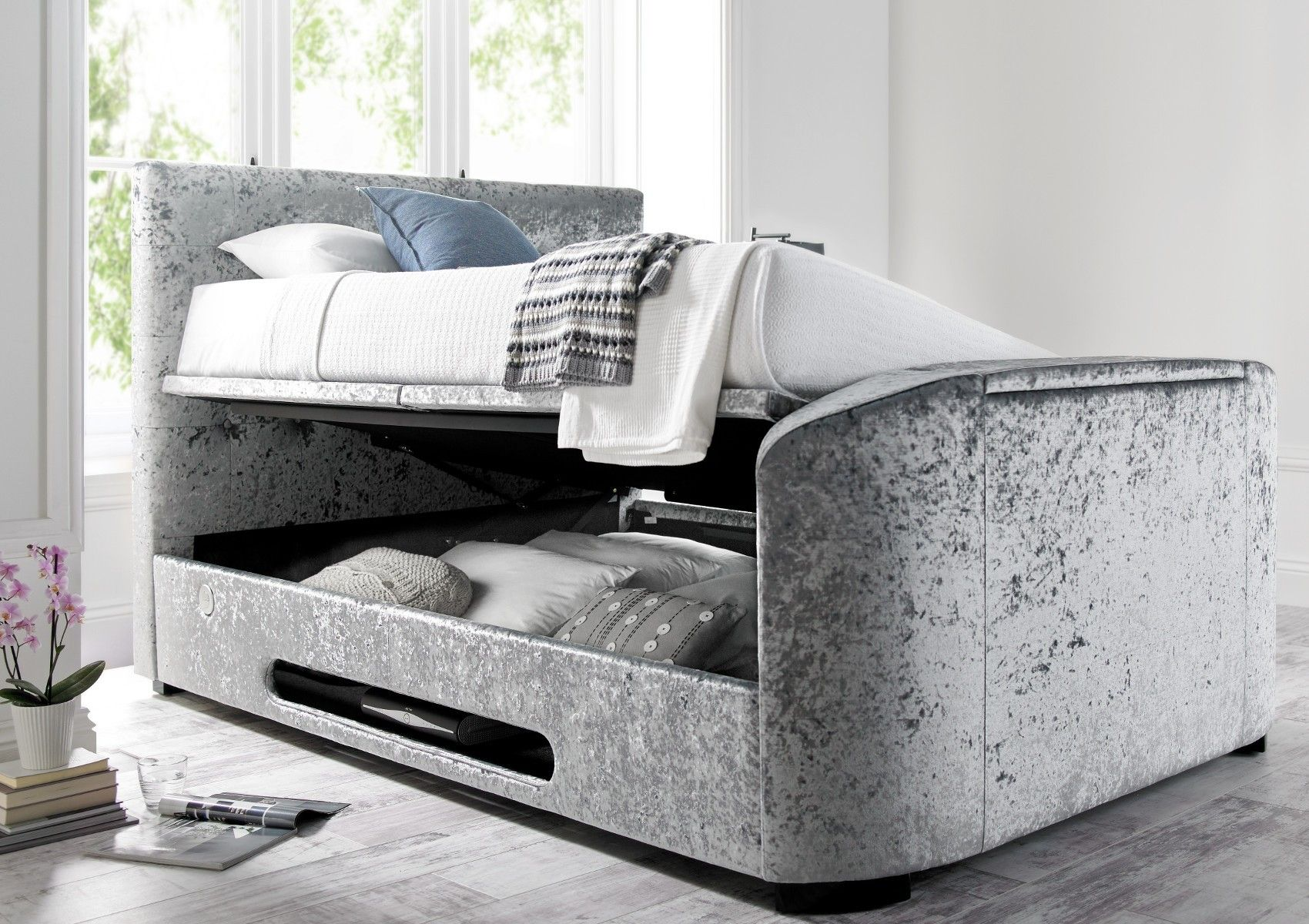 Kingston Upholstered Velvet Platinum Tv Bed Tv Beds Bed Sizes Bed