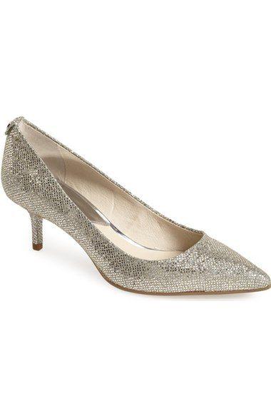 MICHAEL KORS FLEX Kitten Heel Pump Silver Gold Glitter 10