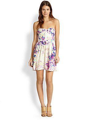 Parker Lily Silk Strapless Fl Print Dress