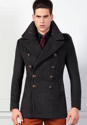 Classy Slim Fit Mens Pea Coat Grey, Mens Peacoat Slim Fit Grey