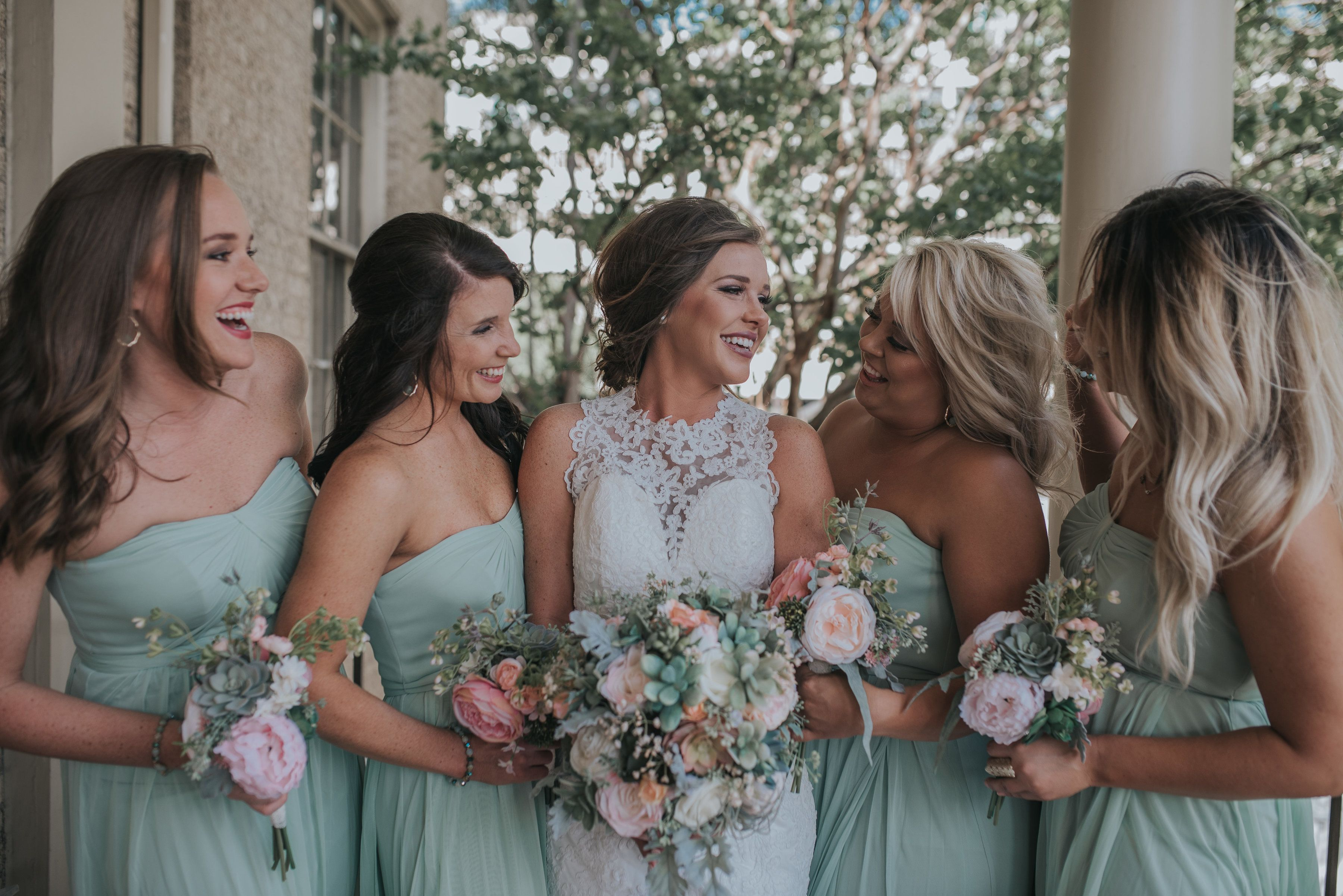 Meadow Blush Peach Inspired Wedding Succulent Bouquets