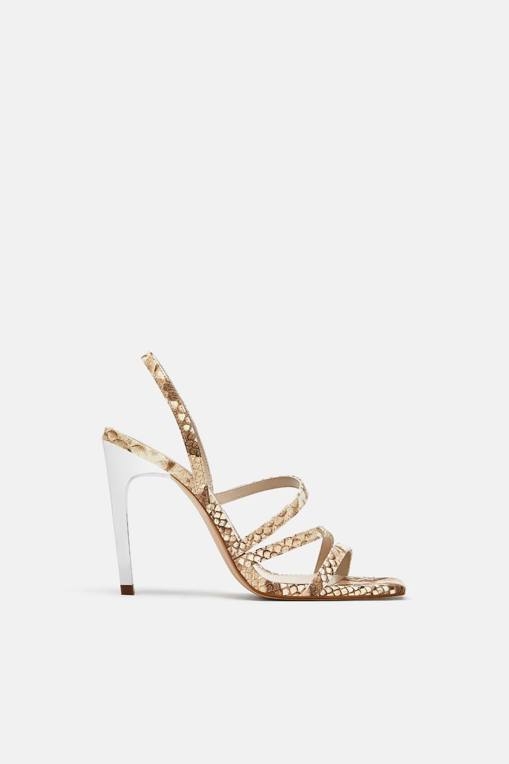c263553f824 Image 2 of SNAKESKIN PRINT LEATHER SANDALS from Zara