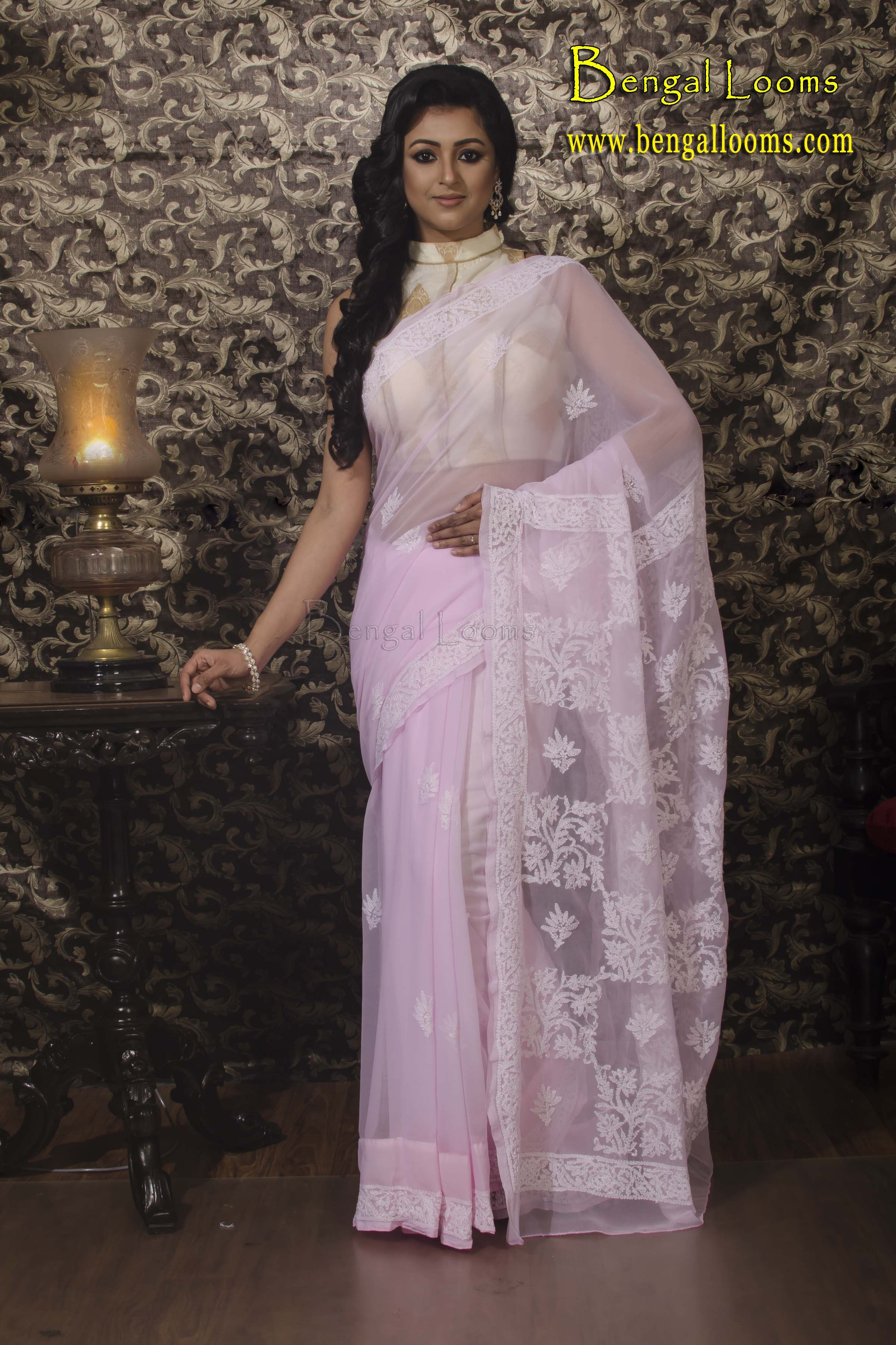 2ee46fa1d36d8 Lucknow Chikan Saree in Baby Pink and White