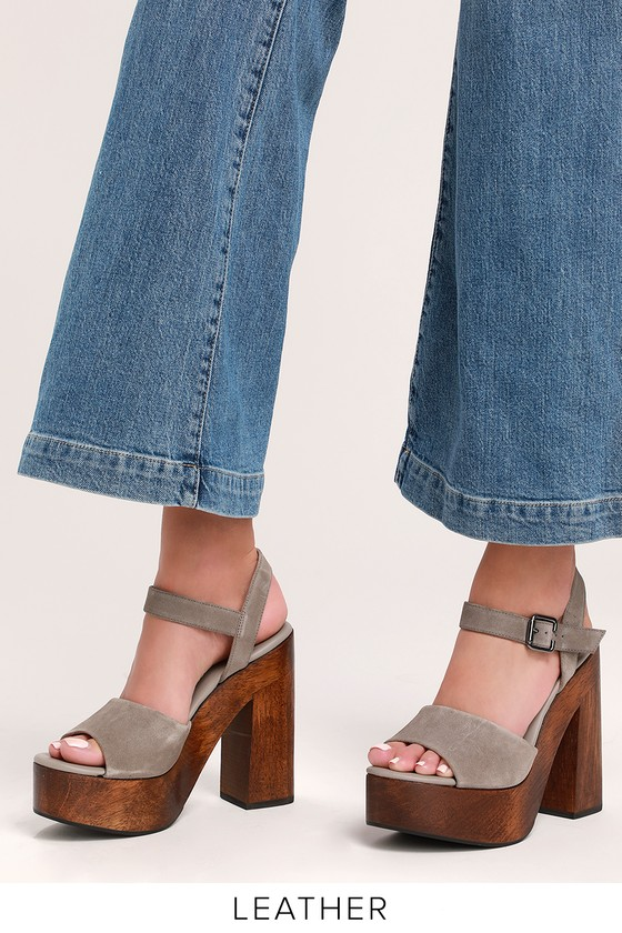 Lolita Leather Grey Suede Wooden Platform Heels In 2019 Products