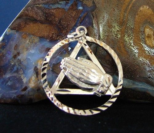 Sterling Silver Alcoholics Anonymous Aa Symbol Praying Hands Pendant