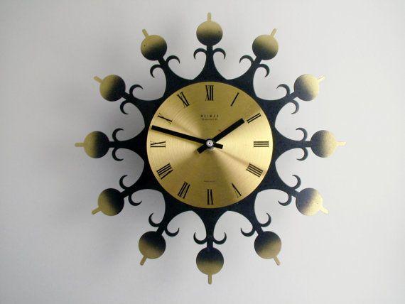 Surprising Mid Century German Wall Clock Weimar Starburst Clock Home Interior And Landscaping Synyenasavecom
