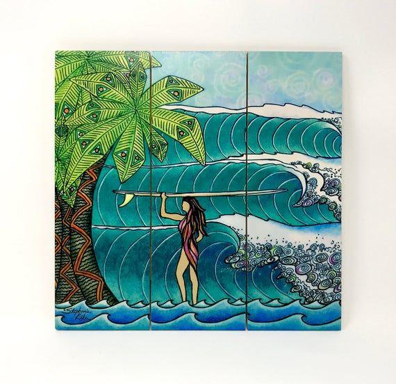 Surf Girl Surf Art Wood Wall Art - Ready to Hang Wall Art, Surf Art, Surfing #surfgirls