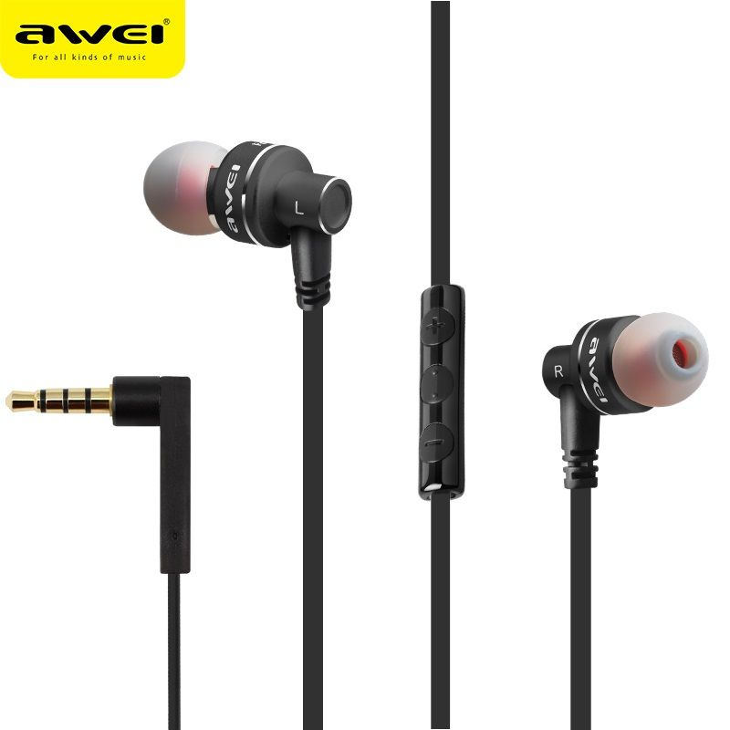 Original Awei ES-10TY Metal Stereo Earphones 3.5mm In-Ear Noise Reduction Earbuds Super Bass HIFI Dynamic Headset With Mic