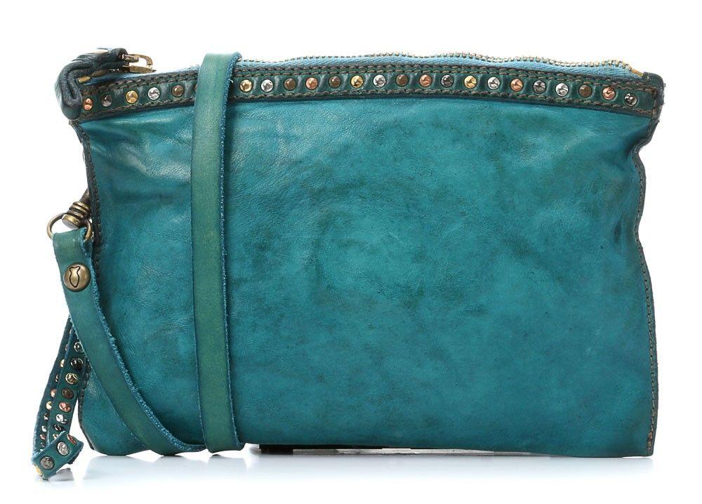 Lavata Doppio Manico Shoulder Bag Leather turquoise 28 cm