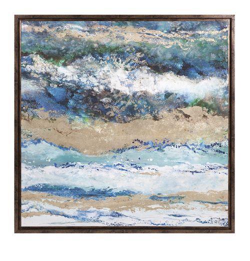 Seaside Waves Framed Canvas Art | Framed wall art, Deep blue and ...