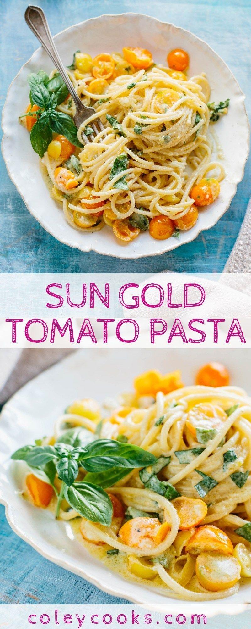 No Cook Sun Gold Tomato Pasta Recipe Easy Pasta Recipes Food