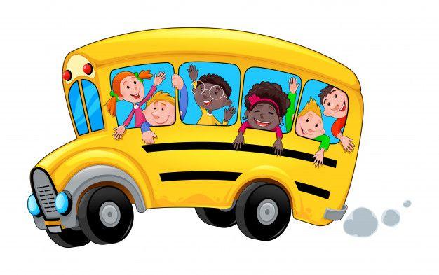 Onibus Escolar Dos Desenhos Animados Com Estudantes Crianca Feliz