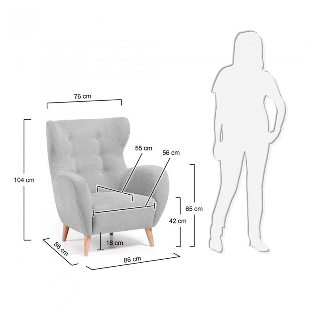 dimensions fauteuil scandinave tissu rembourr avec boutons dcoratifs lord - Dimension Fauteuil