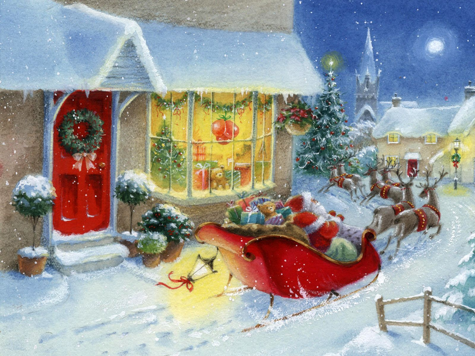 Wallpaper winter, christmas tree, snow, new year, gifts, toys, santa goodfon .com