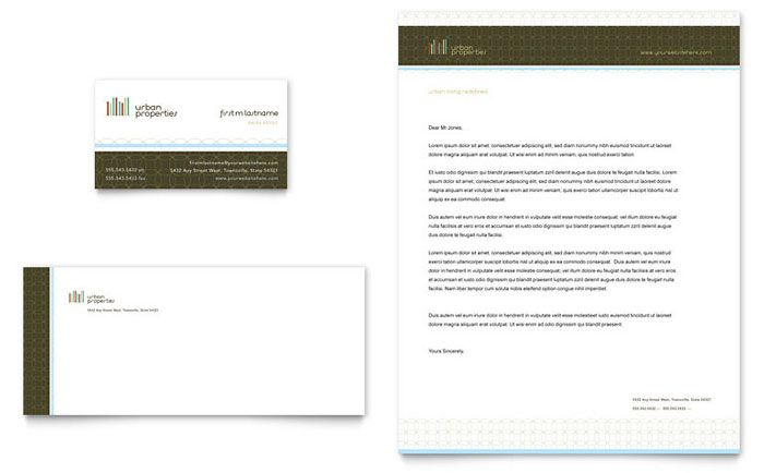 Urban Real Estate Business Card And Letterhead Template Design By