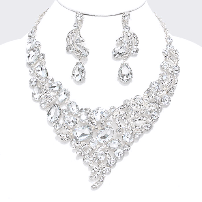 Clear Crystal Formal Evening Statement Necklace Set Pageant Prom