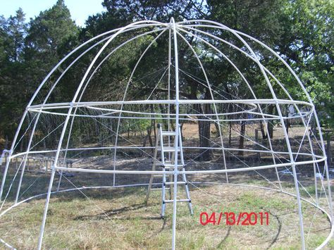 Pictures Of A Build It Yourself Pvc Dome Greenhouse Pool Cover Dome Greenhouse Backyard Greenhouse Greenhouse Gardening