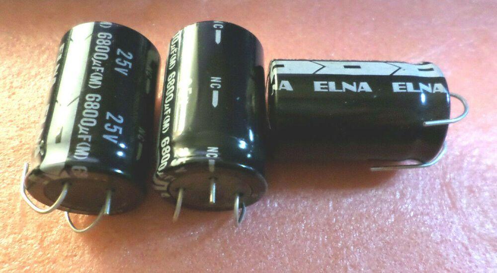 Elna Japan 25v 6800uf 3 Pin Electrolytic Capacitors New C9b5 Japanelna Electrolytic Capacitor Capacitors Japan