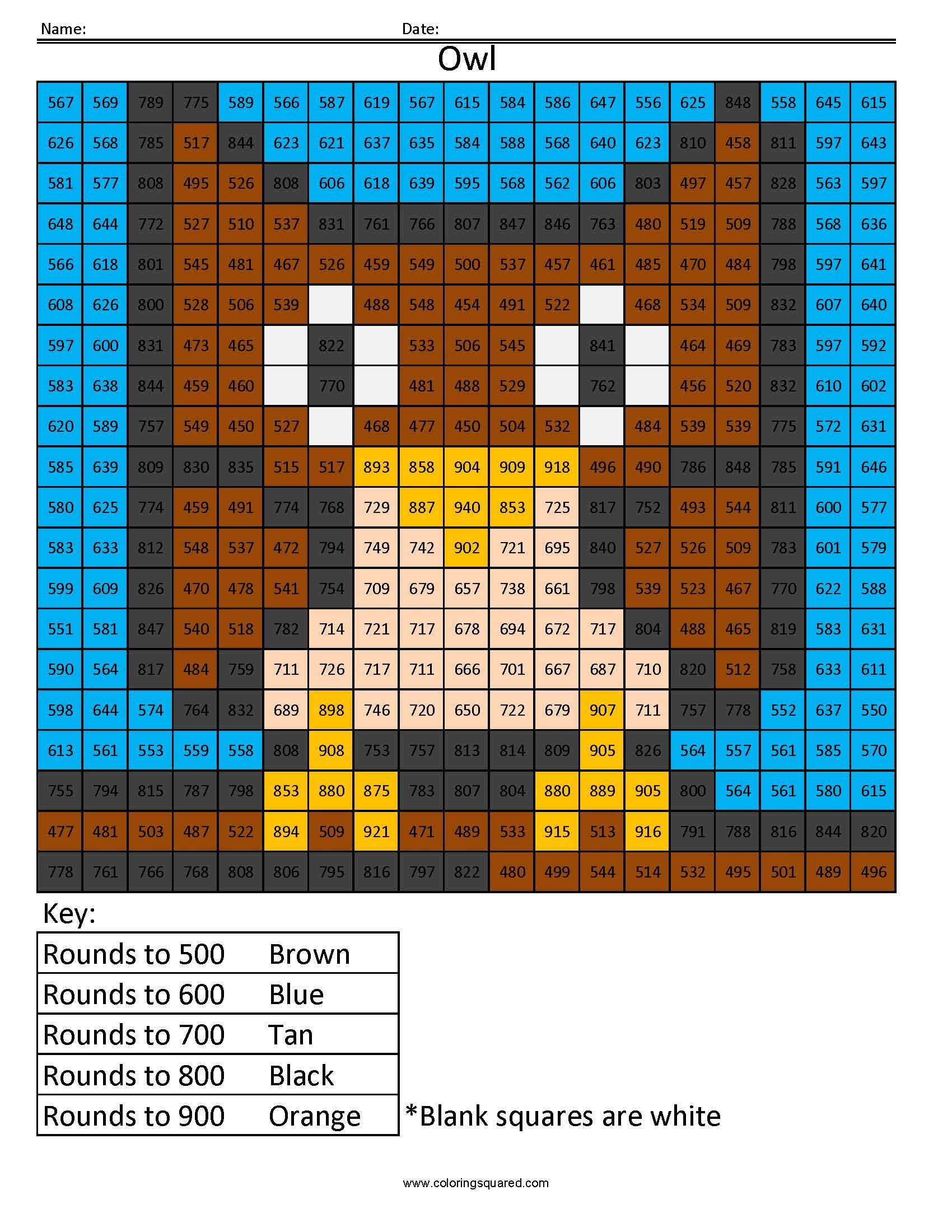 Owl Rounding Hundreds Place Coloring Squared Kids Math Worksheets Maths Colouring Sheets Free Math [ 2200 x 1700 Pixel ]