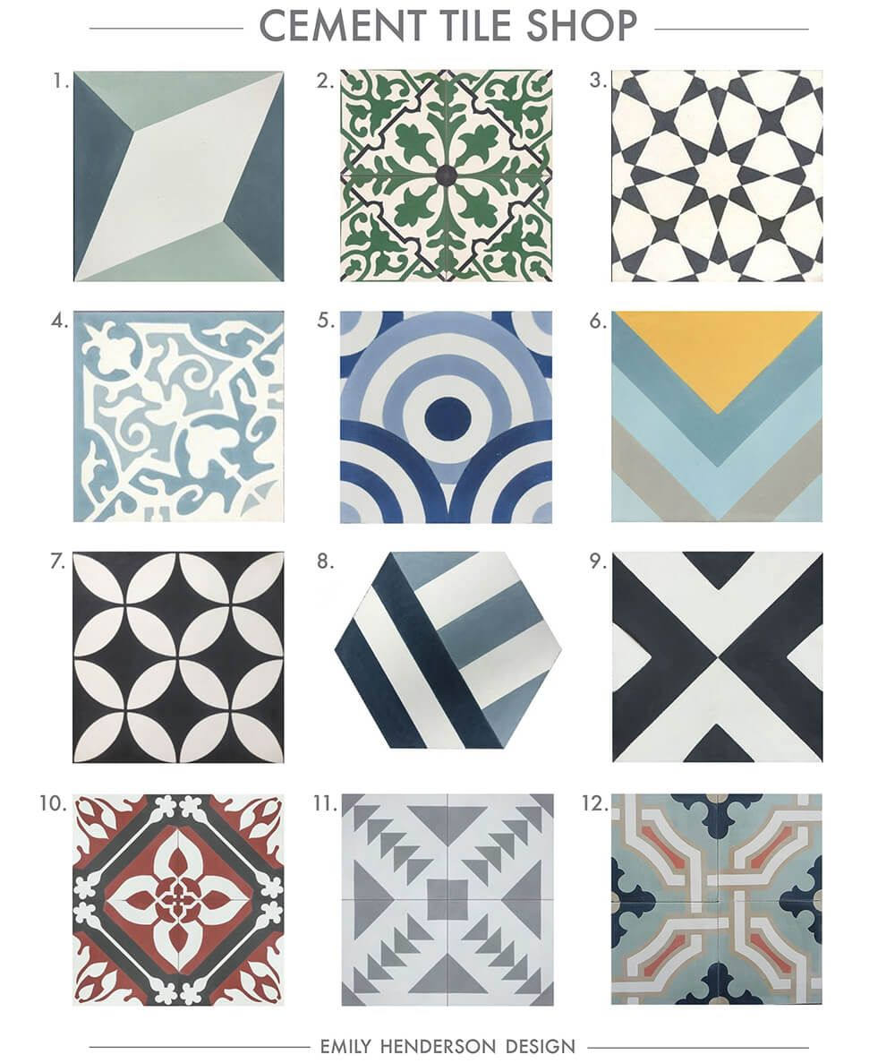Where To Buy Cement Tiles (Emily Henderson) | Cement, Patterns and Bath