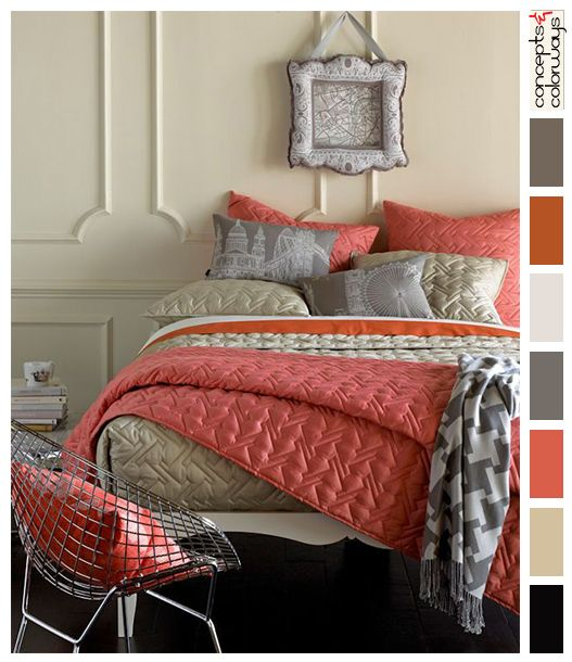 Captivating Peach And Gray Bedroom Color Palette, Black Floor, Putty Gray, Rust Orange,  Gray, Off White, Peach, Pinkish Peach, Cadmium Orange