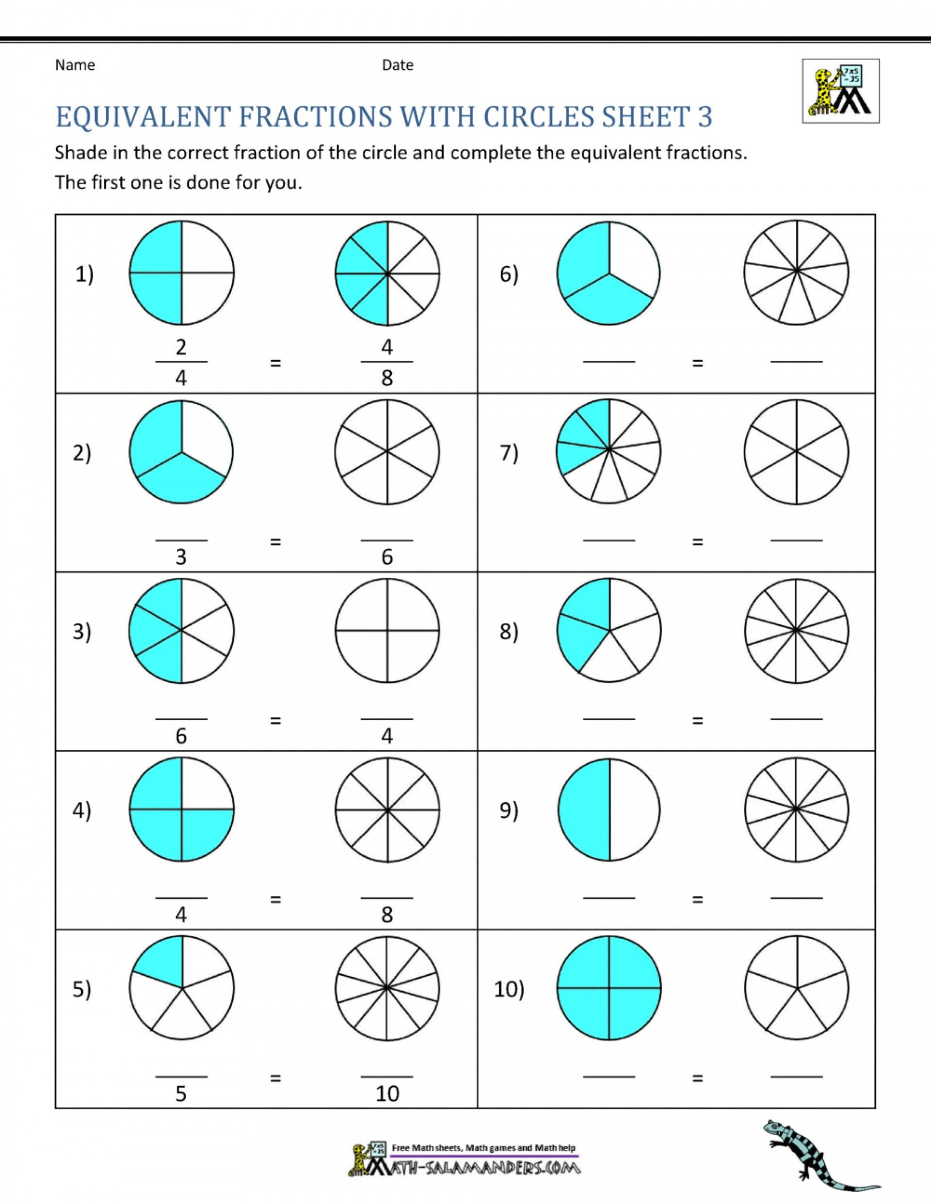 small resolution of 4 Free Math Worksheets Third Grade 3 Fractions and Decimals Comparing  Fractions Mi…   Third grade fractions worksheets