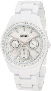 #6: XOXO Women's XO114 Rhinestone Accent White Enamel Bracelet Watch.