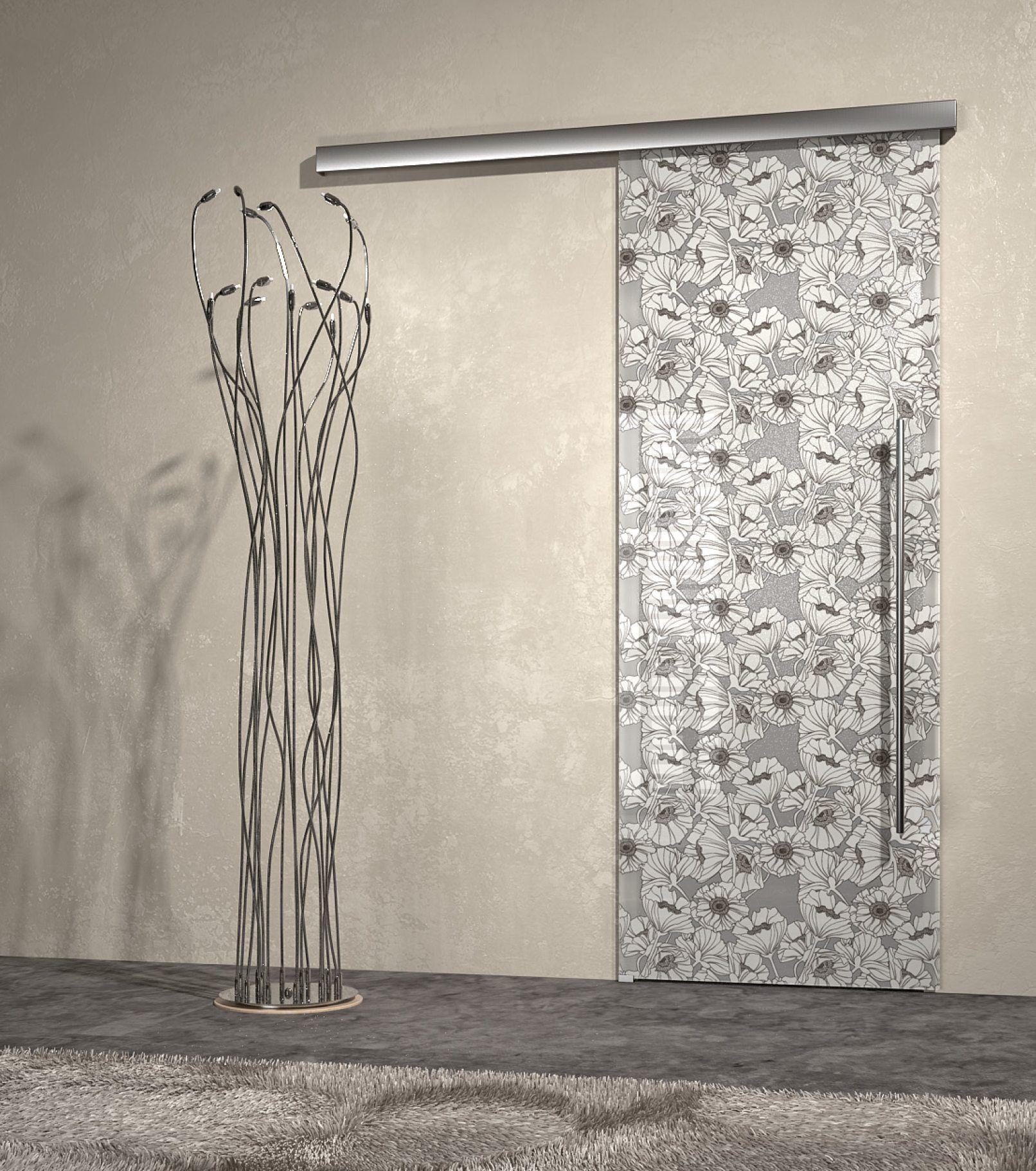 Sliding Door, glamour design, flowers, glass