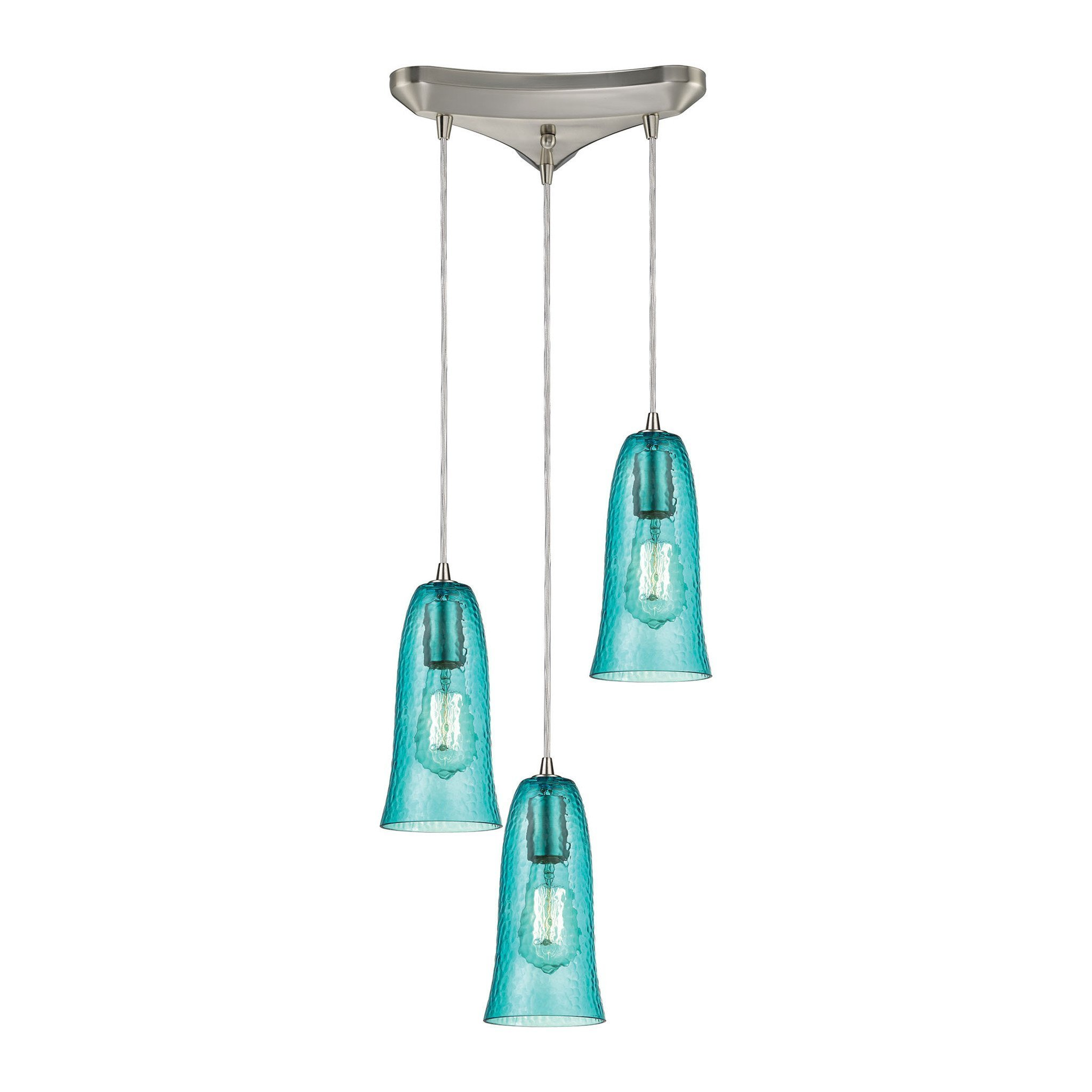 ELK Lighting HAQ Hammered Glass Collection Satin Nickel