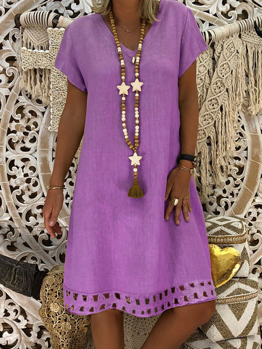 8e201a3d3a19 Justfashionnow Summer Dresses Sundress Daytime A-Line V Neck Casual Short  Sleeve Dresses