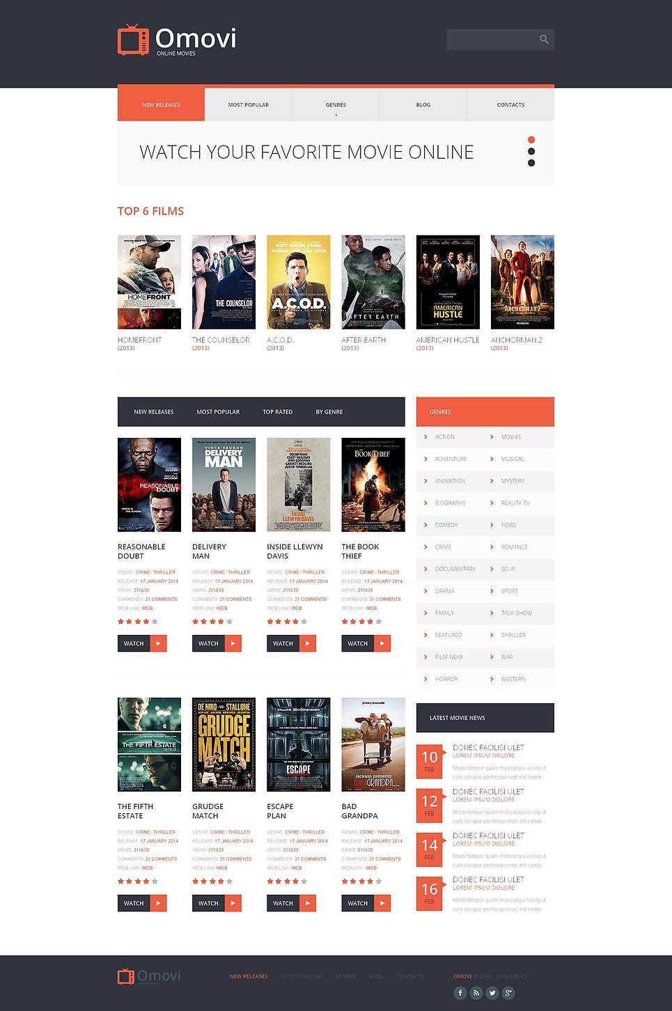 movie responsive website template template