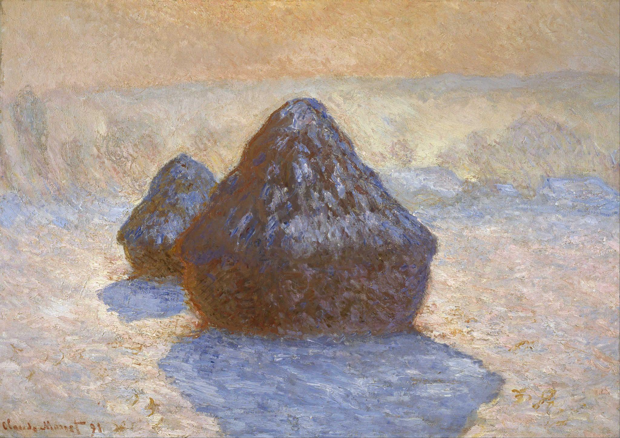Claude Monet: Haystacks, Snow Effect, 1891 | Monet, Impressionisme,  Kunstgeschiedenis