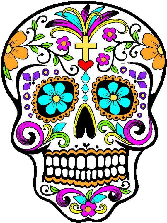 Sugar Skull - Calaveras de Azúcar - Dia de los Muertos - Vinyl Sticker - Five Styles. $5.00, via Etsy.