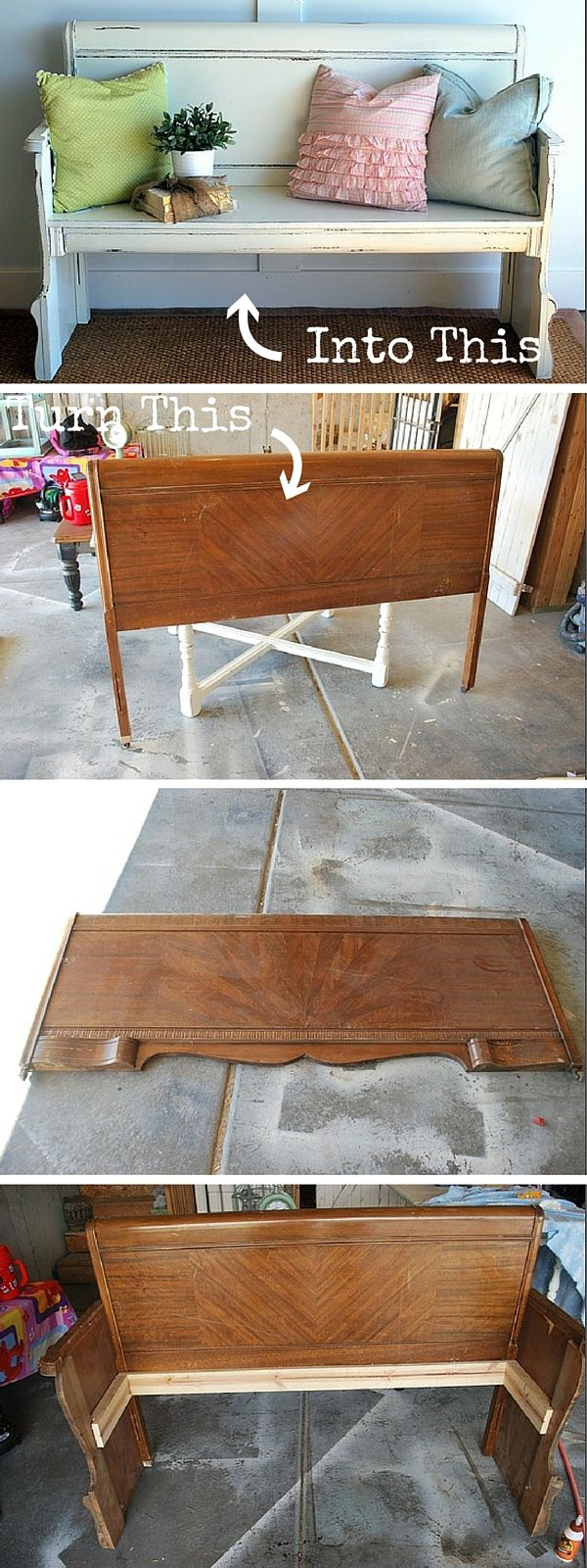 Check out the tutorial: #DIY Turn a Headboard into a Bench #crafts ...