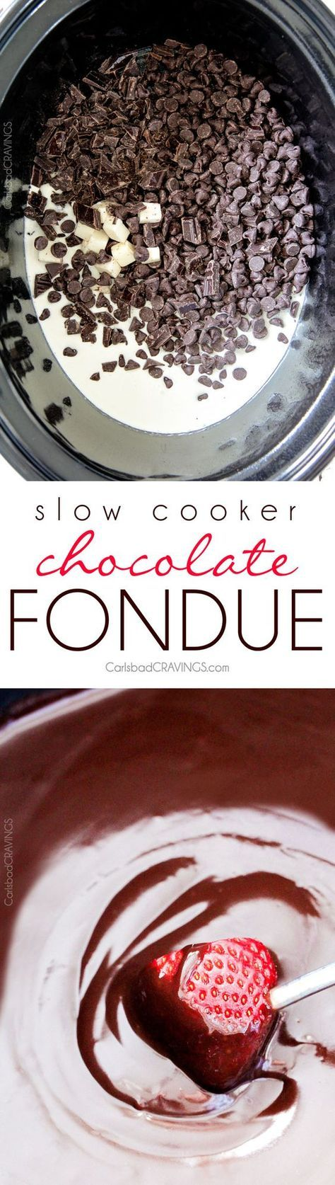 Slow Cooker Chocolate Fondue - EASY, velvety chocolate is the perfect make ahead party or special occasion appetizer or dessert. Perfect for Valentine's Day, baby/bridal showers, girls night, movie night or just because! #brothfonduerecipes