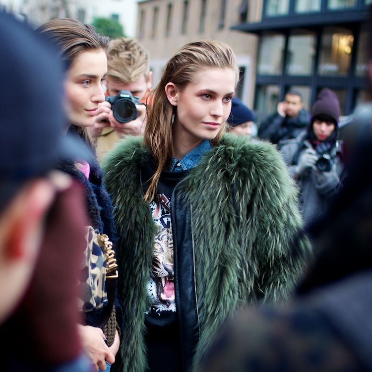 Green fur jacket and tiger sweater