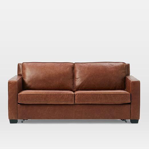 Henry 174 Pull Down Leather Sleeper Sofa Full Tobacco