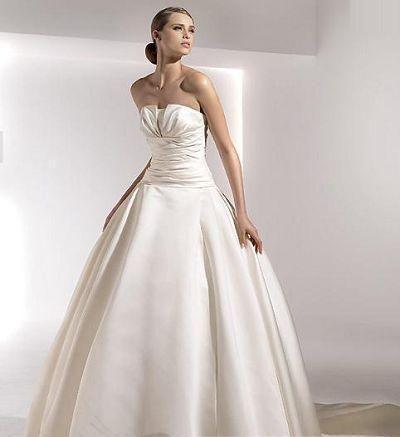 Wedding Dresses | Strapless Wedding Dresses | Petal Neck Consealed Robbins Chapel Train