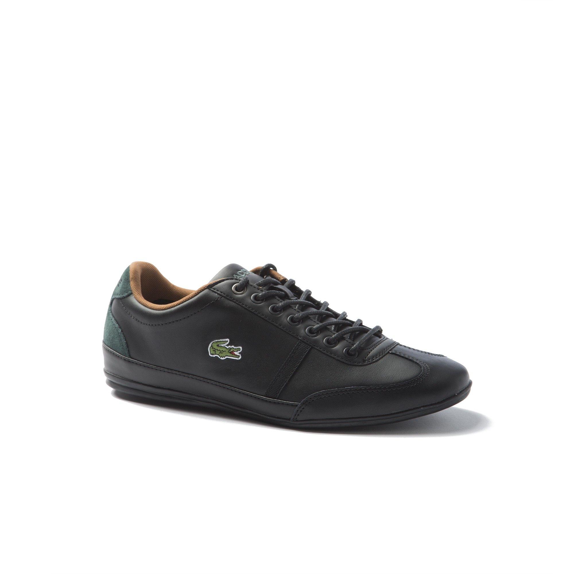 eab061172e83cc Lacoste Men s Misano Sport Leather Sneakers - Black Black 9.5 Green