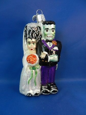 Frankenstein and Bride glass ornament | Glass Christmas ...