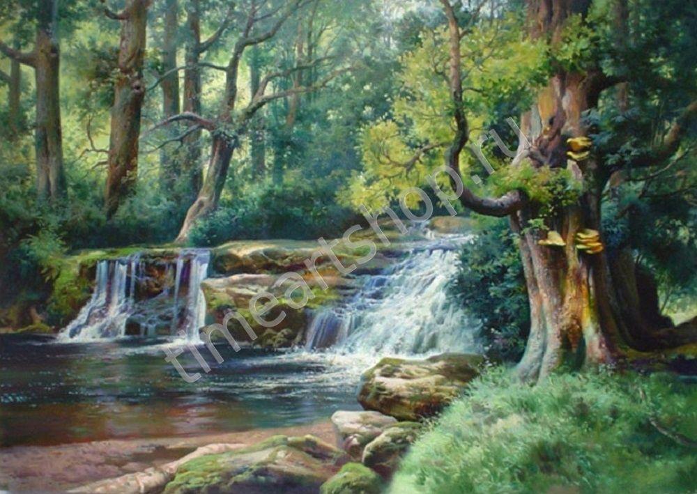 Водопад в лесу, картины раскраски по номерам, своими ...