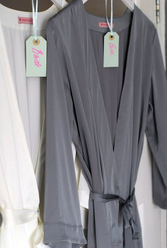 Grey Satin Dressing Gown, Personalized robe, Gray Satin Robe ...