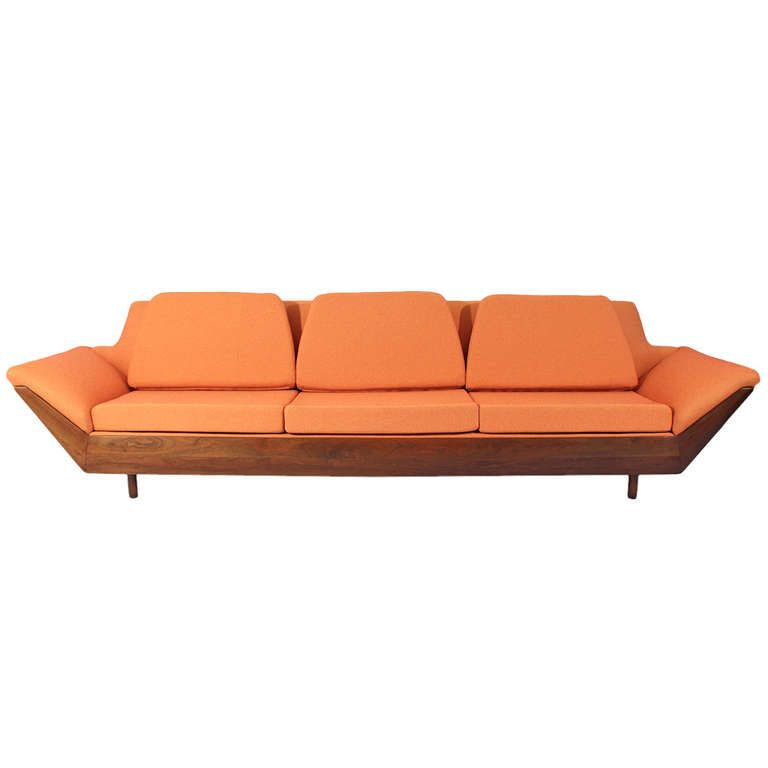 1stdibs.com | Long, Low Sofa Designed By Adrian Pearsall For Craft  Associates. Completely Restored With All New Foam And Tangerine Fabric.