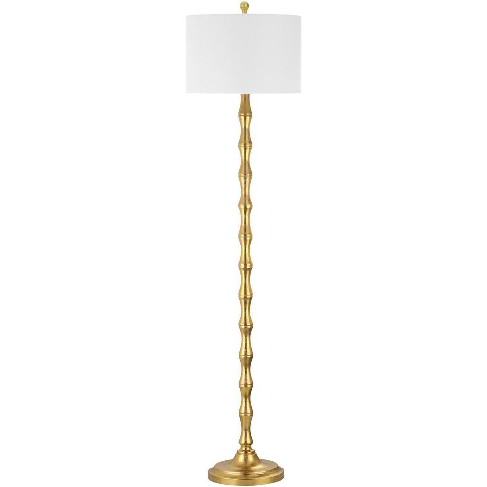 Safavieh aurelia 635 in antique gold floor lamp with white shade antique gold floor lamp with white shade lit4334a the home depot aloadofball Choice Image