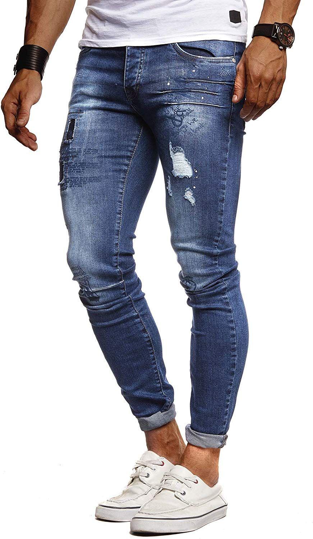LEIF NELSON Herren Jeans Hose Slim Fit | Denim Blaue graue