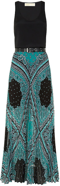 58baf6f1e Michael By Michael Kors Pleated Paisley Maxi Dress in Multicolor (silver) -  Lyst