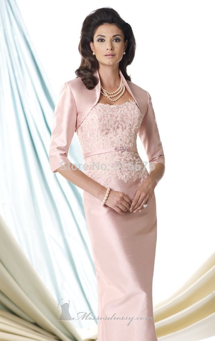 b7f8f890a4 English Rose Taffeta And Lace Mother Of The Bride Dresses Slim Band ...