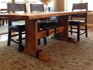 Smaller Trestle Table With Nice Iron Accents.
