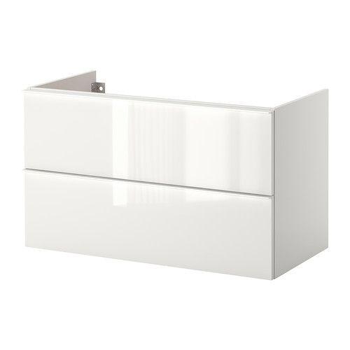 IKEA - GODMORGON, Mobile per lavabo con 2 cassetti, lucido bianco, 100x47x58 cm, , 10 anni di garanzia. Scopri i termini e le condizioni nell'opuscolo della garanzia.Cassetti a scorrimento e chiusura morbidi, con fermacassetti.Puoi modificare facilmente l'ampiezza degli scomparti del cassetto spostando il divisorio.Puoi vedere e raggiungere facilmente il contenuto poiché i cassetti si estraggono completamente.Cassetti in legno massiccio con base in melammina resistente ai graffi.